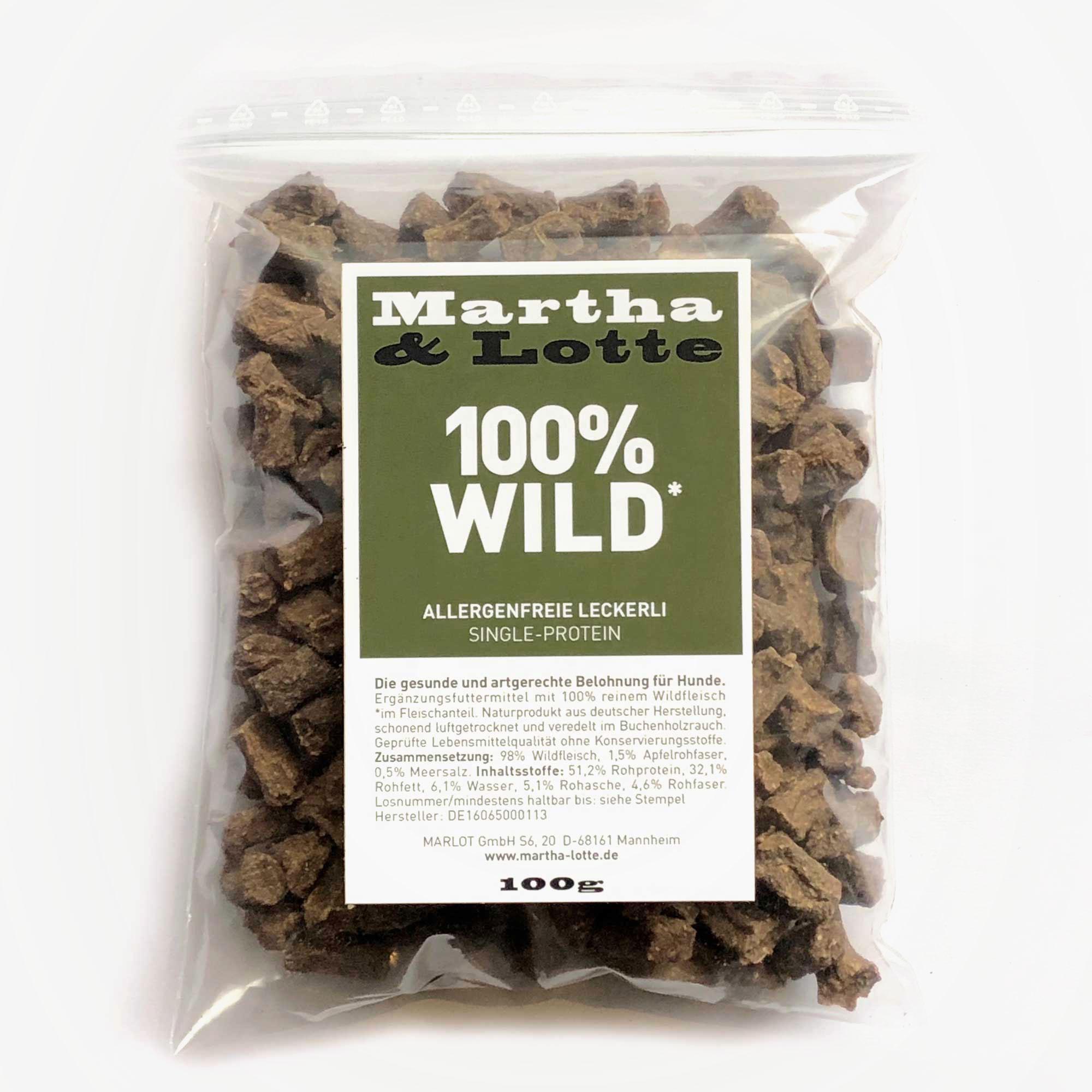 Marthalotte Hundeleckerli 100prozent Wild