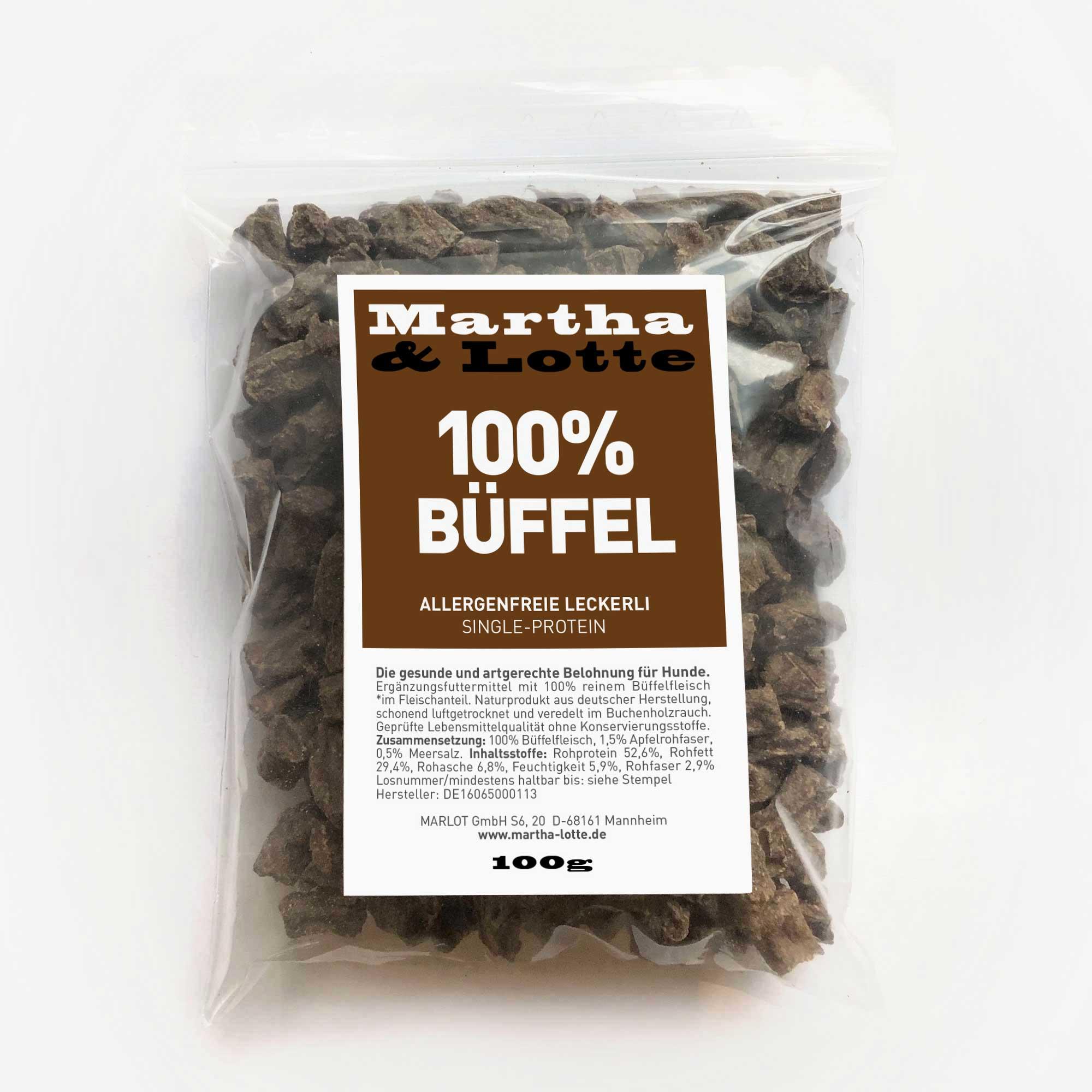 Marthalotte Hundeleckerli 100prozent Bueffel