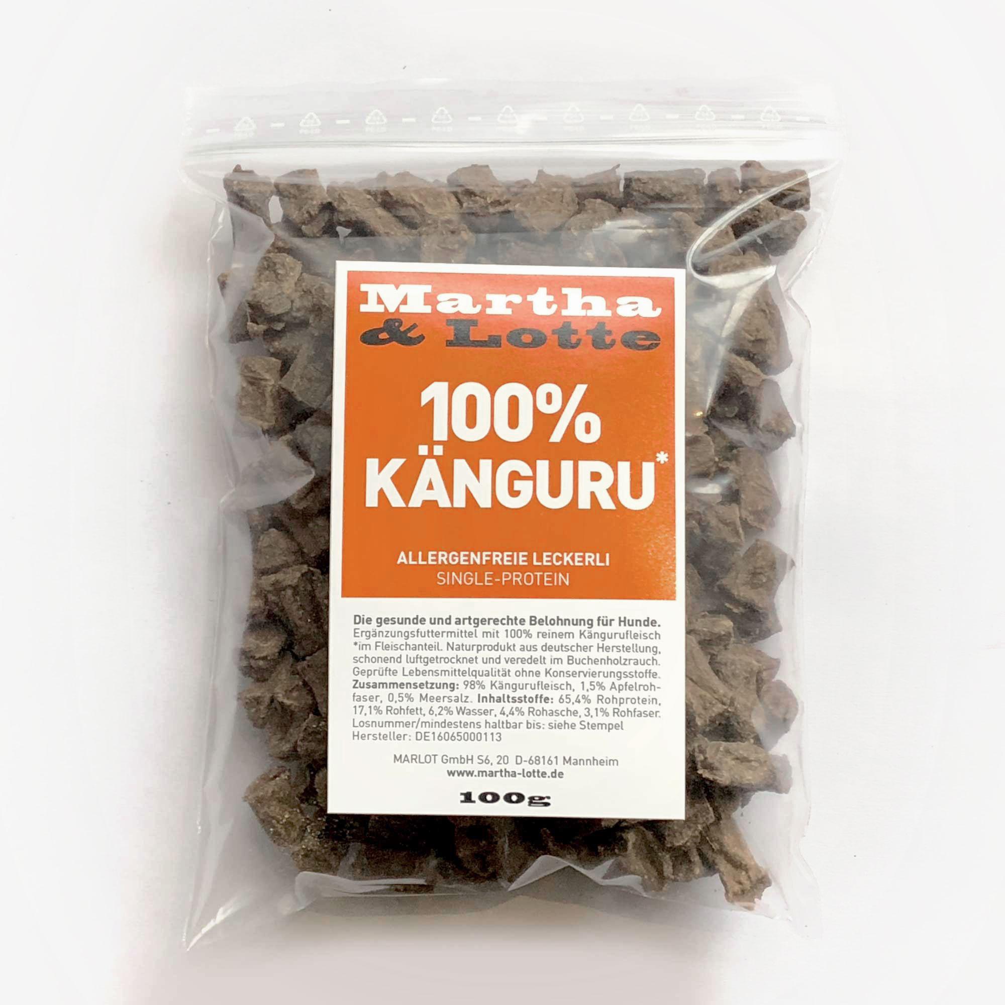 Marthalotte Hundeleckerli 100prozent Kaenguru