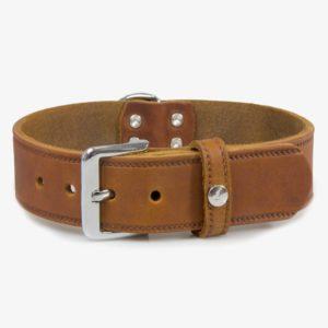 Das Lederband Hundehalsband Weinheim Kastanie L