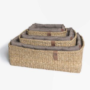 Cloud7 Hundebett Hideaway Herringbone Brown Stapel